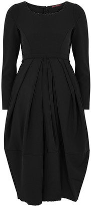 High Swirl Black Draped Dress