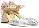 Dolce & Gabbana Mink Fur-trimmed Glitter Pumps