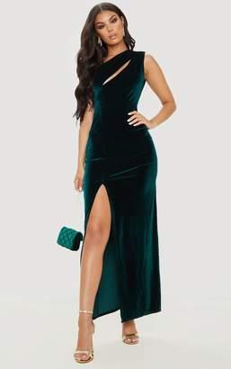 PrettyLittleThing Emerald Green Velvet One Shoulder Split Leg Maxi Dress