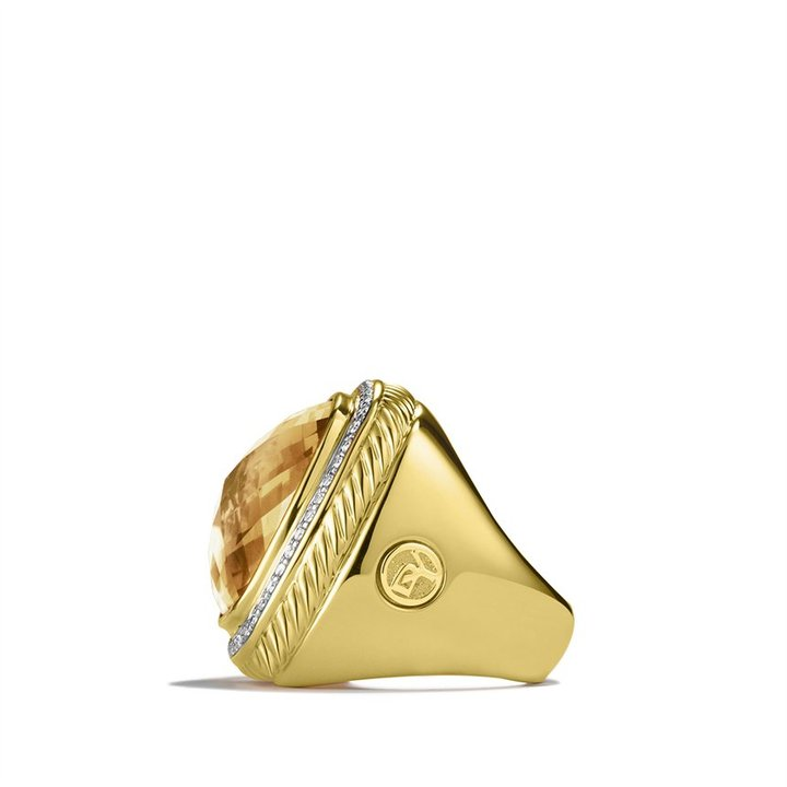 David Yurman Albion Ring with Champagne Citrine and Diamonds in Gold