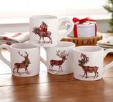 Pottery Barn Silly Stag Mugs, Mixed Set of 4