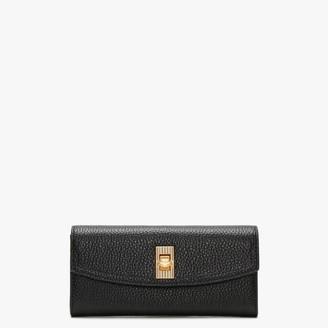 Lulu Guinness Lip Turnlock Lucia Black Leather Wallet