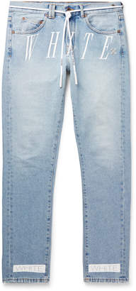 Off-White Off White Slim-Fit Logo-Print Denim Jeans