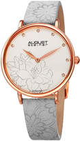 August Steiner Gray & Rose Goldtone Diamond-Accent Hibiscus Leather-Strap Watch