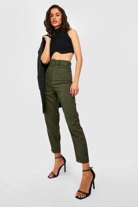 boohoo Wide Buckle Belt Straight Tapered Pants