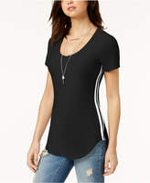 Ultra Flirt Juniors' Side-Stripe Tunic T-Shirt