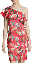 Neiman Marcus Ruffled One-Shoulder Floral-Print Sheath Dress, Red Pattern