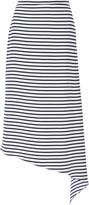 Tibi Identity Stripe asymmetric silk midi skirt