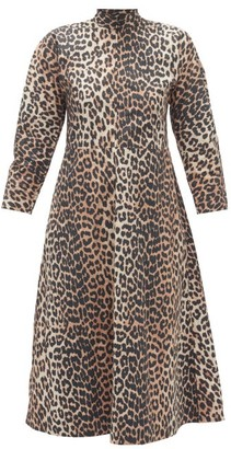 Ganni Zip-through Leopard-print Cotton-poplin Midi Dress - Leopard