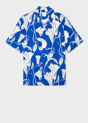 Men's Tailored-Fit Blue 'Floral Cutout' Short-Sleeve Shirt