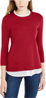 Maison Jules 3/4-Sleeve Layered-Look Sweater