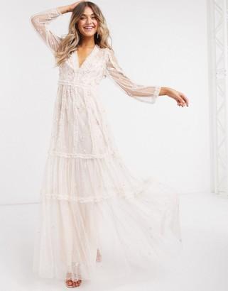 Needle & Thread embellished plunge maxi dress in mink