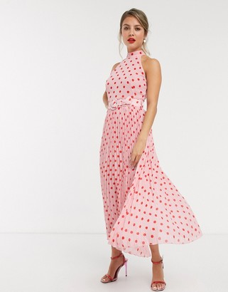 Style Cheat halterneck pleated midaxi dress with belt in contrast pink polka