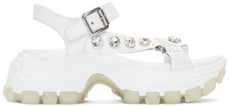 Miu Miu White Crackle Monstar Sandals