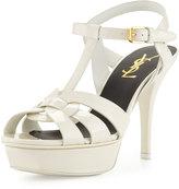 Saint Laurent Tribute Mid-Heel Patent Platform Sandal, White