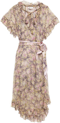Zimmermann Sabotage Frilled Tie-neck Floral-print Silk-georgette Midi Dress