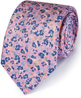 Charles Tyrwhitt Pink and Blue Cotton Mix Printed Floral Italian Luxury Tie
