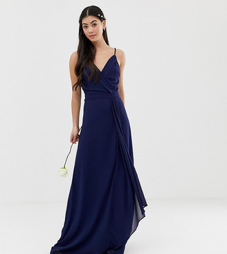 TFNC Petite bridesmaid exclusive cami wrap maxi dress with fishtail in navy