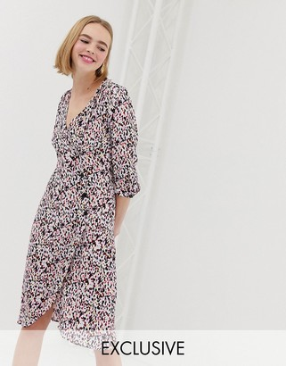 Monki wrap dress with confetti print and buttons