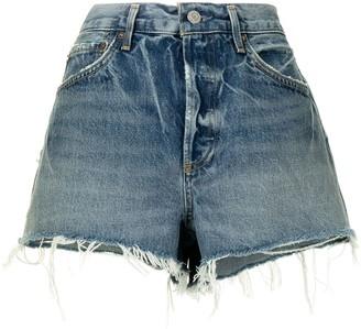 AGOLDE Parker raw-edge denim shorts