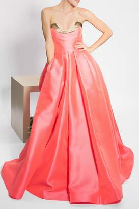 Reem Acra Coral, Gold, Strapless