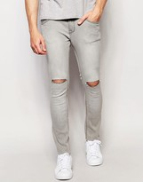 Pull&bear Super Skinny Jeans In Grey With Knee Rips