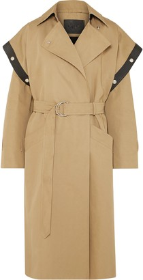 Givenchy Belted Leather-trimmed Cotton And Linen-blend Trench Coat