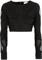 Herve Leger Crochet-paneled cropped bandage top