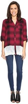 Brigitte Bailey Maisha Plaid Top with Lace Bottom Women's Clothing