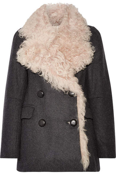 Isabel Marant Berit Shearling-lined Wool-blend Coat