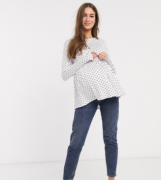New Look Maternity long sleeved peplum tee in white polka dot