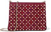Christian Louboutin Triloubi Large Embellished Suede And Leather Shoulder Bag - Burgundy