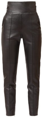 Alexandre Vauthier High-rise Leather Slim Trousers - Black