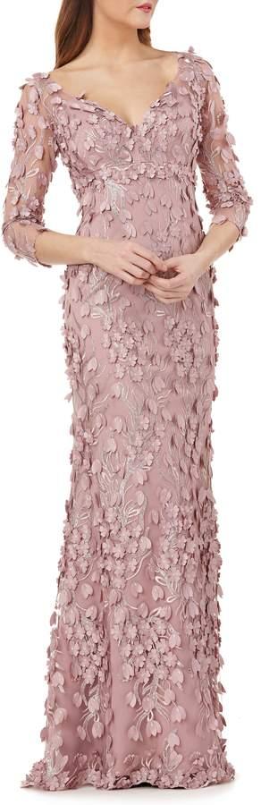 Carmen Marc Valvo 3D Novelty Gown