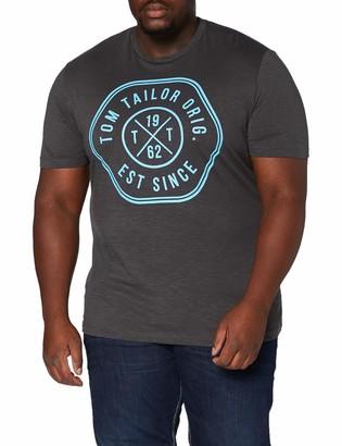 TOM TAILOR Men+ Men's Plus Size Slub Jersey T-Shirt - Grey - XX-Large
