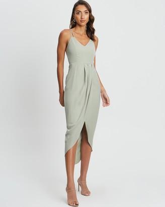 CHANCERY - Women's Green Midi Dresses - Marta Lace Up Midi - Size 14 at The Iconic