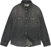 Little Eleven Paris Stone-washed black denim shirt