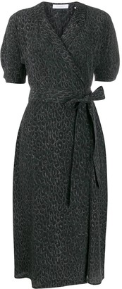 Equipment Leopard Print Wrap Dress