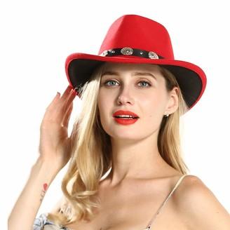 M.J.Z Hats Red Western Cowboy Hat with Tassel Ribbon Women Wool Wide Brim Hat Jazz Hat Fascinator Sombrero Cap Size 56-58CM M.J.ZUR (Color : Red Size : 56-58)