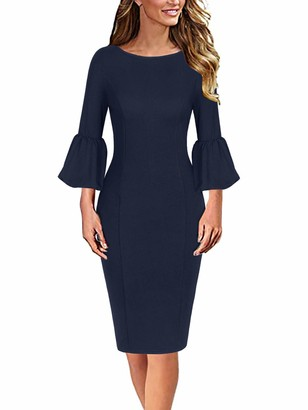 Moyabo Ladies Dresses for Church Womens Elegant Ruffle Bell Sleeve Business Cocktail Party Bodycon Pencil Dress Navy Blue Large
