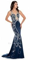 Decode 1.8 Dazzling Rhinestone Embellished Plunging Sheer Prom Dress