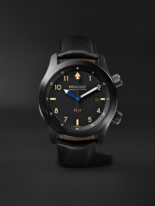 Bremont - U-2/51-JET Automatic 43mm Stainless Steel and Leather Watch - Men - Black