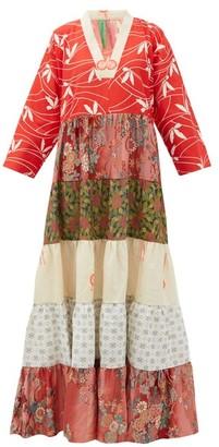 RIANNA + NINA Vintage Patchwork-print V-neck Silk Dress - Multi