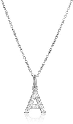 "Amazon Collection Platinum Plated Sterling Silver ""A"" Initial Pendant Necklace set with Swarovski Zirconia (.26 cttw)"
