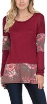 Celeste Wine Floral Color Block Tunic - Plus