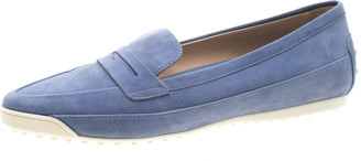 Tod's Blue Suede Penny Loafers Size 39.5