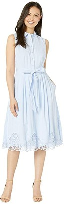 Tahari ASL Sleeveless Embroidered Hem Shirtdress (Serenity Blue) Women's Dress