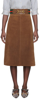 Gucci Belted Suede Skirt