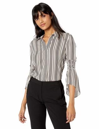 Halston Women's Long Sleeve Button Down Printed Shirt w Smocking