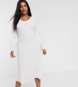 Asos DESIGN Curve long sleeve swing rib bow back midi dress in winter white